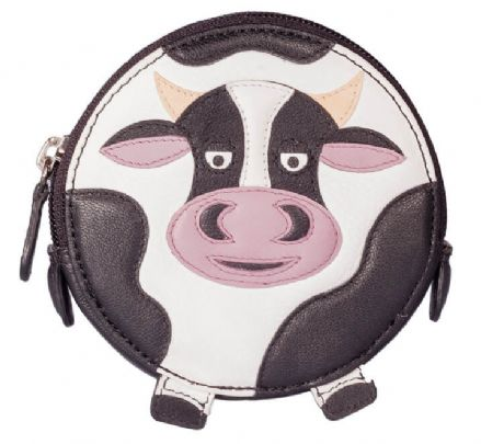 Pinky Cow Round Black Leather Coin Purse